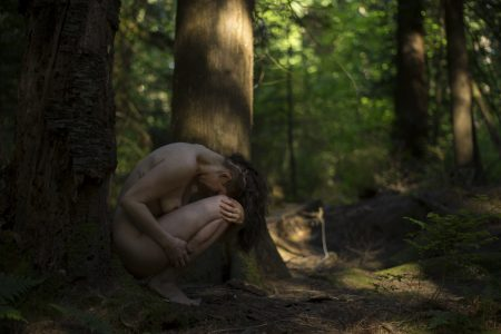 Delilah Diabolic nude in the forest with photographer deneot in Vancouver, BC